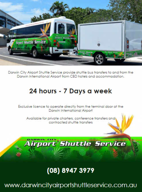 The official shuttle service for Darwin Airport